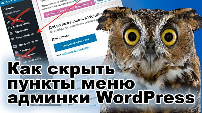 Скрываем пункты меню админки WordPress